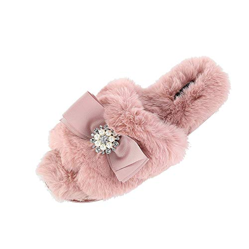 Pretty You London Women's Anya Slide Slipper with Bow and Rhinestone, Small (5-6), Pink