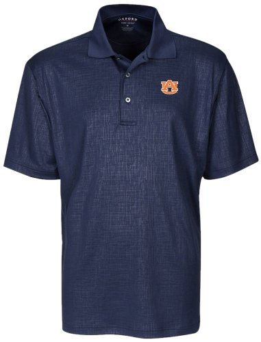 (NCAA Auburn Tigers Men's Cross Hatched Embossed Polo Shirt, Classic Navy, Small)