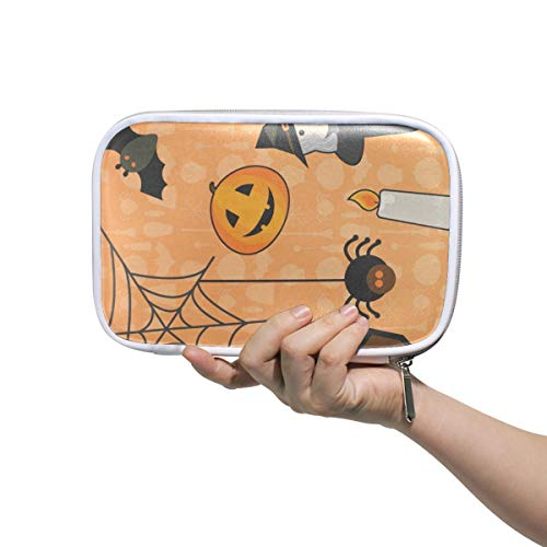 Halloween Makeup Brush Set Bag Multifunction Leather Large Pencil Case Storage Zip -