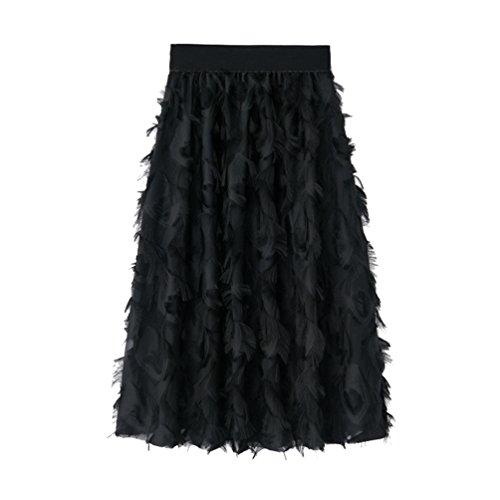 Yiiquanan Jupes Longues Femmes Fluide Dcoration de Plumes D'imitation Vintage Mi Longue Jupes Pliss de Couleur Unie Noir