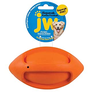 JW Pet Company iSqueak Funble Football Dog Toy, Medium (Colors Vary)