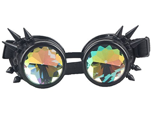 [Rainbow Crystal Lenses Steampunk Glasses Chrome Finish Gotchic Welder Goggles,Black,Adjustable] (Halloween Goggles)