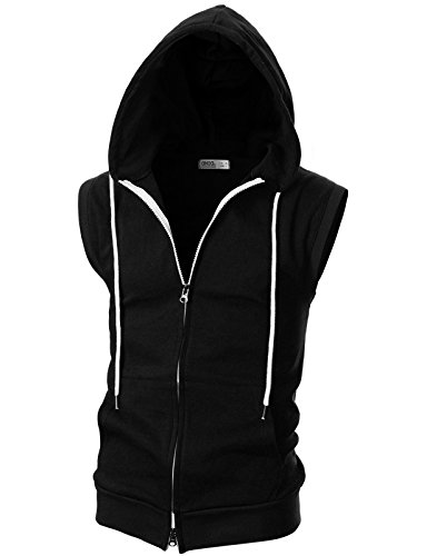 (OHOO Mens Slim Fit Sleeveless Lightweight Zip-up Hooded Vest with Double Slide Zipper/DCF011-BLACK-XXXL)