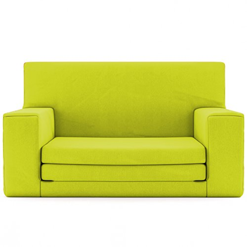 2 in 1 Childrens Sofa Bed in Spicy Lime with Memory Foam Blend – Super Soft & Safe Flip Out Couch Bed for Kids Age 1 -4 - TV Lounge Furniture Junior Chair Fun & Lightweight