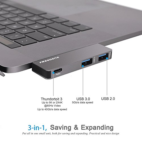 USB Type-C HUB Adapter - Aluminum Pass Through Charging Type-c Hub with 40Gbs Thunderbolt 3, USB 3.0 Port, USB 2.0 Port for New 13'' or 15'' MacBook Pro 2016 and 2017 by OneOdio FREEGENE (Space Grey) by OneOdio (Image #2)