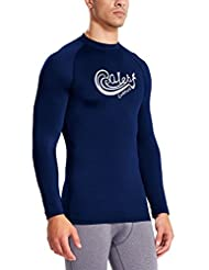 Baleaf Men's Long Sleeve Surf Shirt Rashguard Swim Tee UPF 50+ Navy Size XL