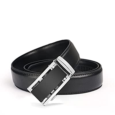 "Gifny Men's Belts Leather Ratchet Dress Belt with Automatic Buckle 1 3/8"" Wider for from 22"" to 44"" Waist - Black"
