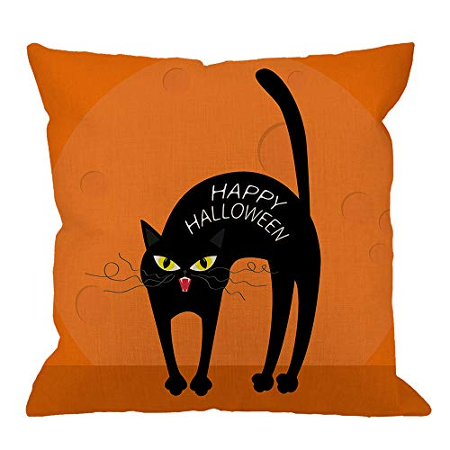 (HGOD DESIGNS Happy Halloween Throw Pillow Cushion Cover,Cat Arch Back with Yellow Eyes Cotton Linen Covers Decorative Cushion Cover Pillowcase for Sofa 18x18inch Square Throw Pillow)