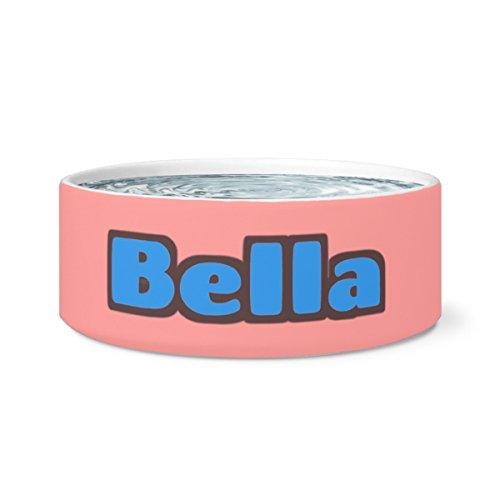 Personalised Ceramic - BELLA Ceramic Dog Pet Bowl in Bright Colors with Name (pink)