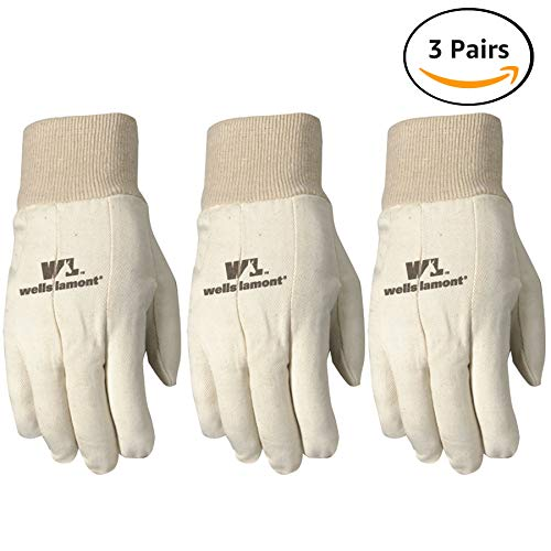 Wells Lamont Canvas Work Gloves, Standard Weight, Wearpower, Large, 3 Pack (48LF) ()