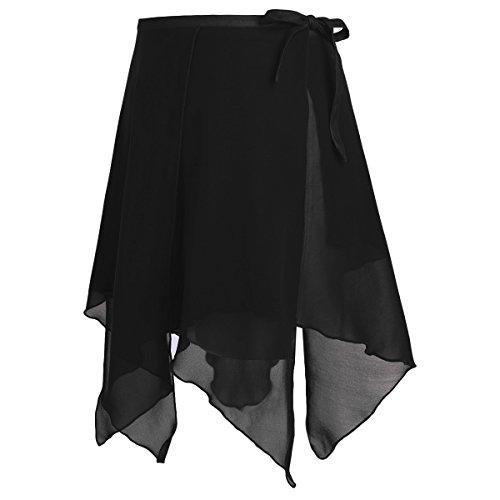 (iiniim Adult Ladies Ballet Wrap Over Scarf Dance Leotard Skate Tutu Skirt Chiffon Black One Size)