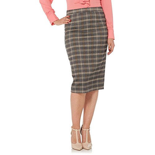 Women's Voodoo Vixen Pia Plaid Pencil Skirt Grey