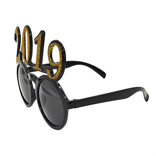 BESTOYARD 2019 Glasses Happy New Year Glasses Frame Photo Props New Year Eve Party Favors -