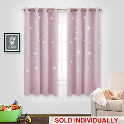 """NICETOWN Star Curtain for Girl's Room - Thermal Insulated Star Stamp Cut Room Darkening Curtain and Drapery (Lavender Pink=Baby Pink, Sold Individually, 52"""" x 63"""")"""