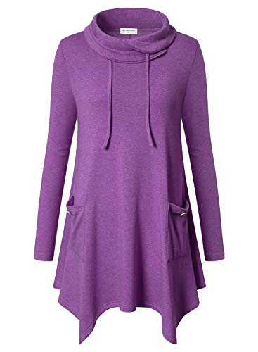 - Bulotus Women's Pullover Long Sleeve Plus Size Swing Tunics for Leggings 3X,Purple,XXX-Large