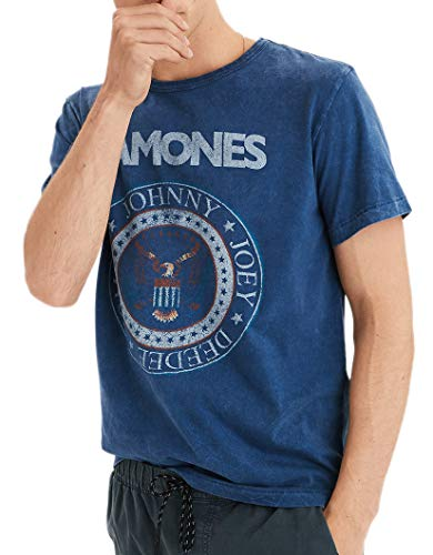 (American Eagle Mens Short Sleeve Ramones Graphic T-Shirt Heather Blue (Small))