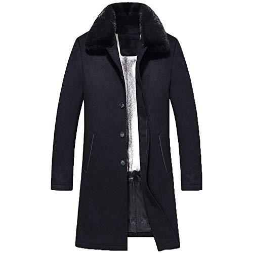 Denny&Dora Men's Wool Fabric Mink Fur Liners Nick Garment Men's Mink Fur Collar Coat Men's Winter Leather Coat (Dark Blue-Cross Marten Lining, L)