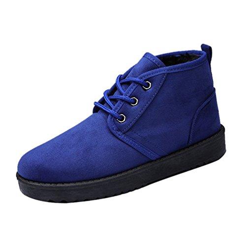 À Bleu Neige Femme Bottines Cheville Chaudes Lacets Baymate Chaussures Bottes Casual Hiver De Plates qvZYwHx6O