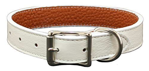 Luxury Italian Leather Tuscany Dog Collar - White - 26