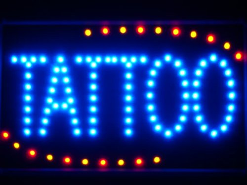 ADV PRO led007-b Tattoo Ship OPEN LED Neon Business Light Sign Barlicht Neonlicht Lichtwerbung