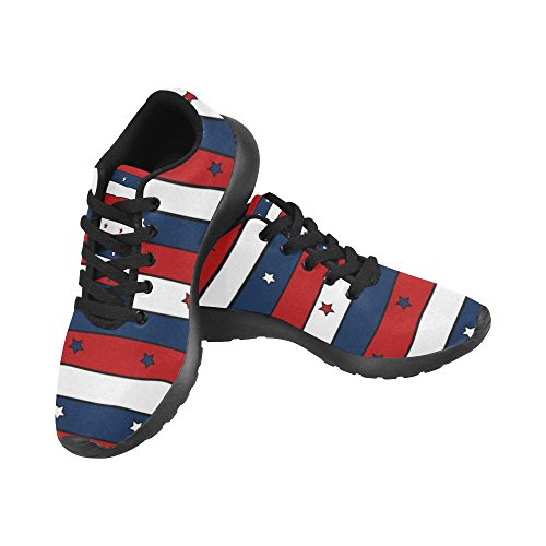 InterestPrint zombie Sports Running Shoes for Men Red White and Blue Striped Patriotic Pattern D8PlDs