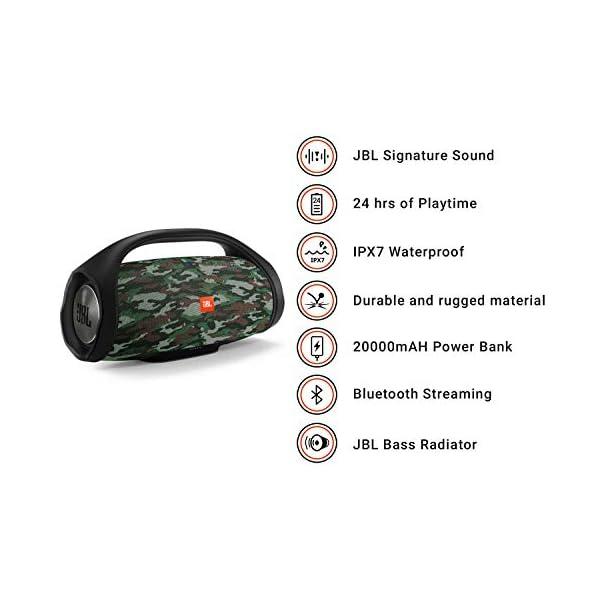 JBL Boombox - enceinte Bluetooth Portable - Son Ultra Puissant - Modes de Son Intérieur & Extérieur - Autonomie 24 Hrs - Étanche pour Piscine & Plage - Camouflage 3