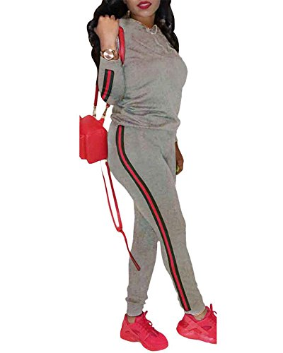Plus Size Tracksuit - SCORP Women's Casual Fit Hoodie Long Sleeve Sport Sweatshirt Clubwear Jumpsuit Rompers Grey L
