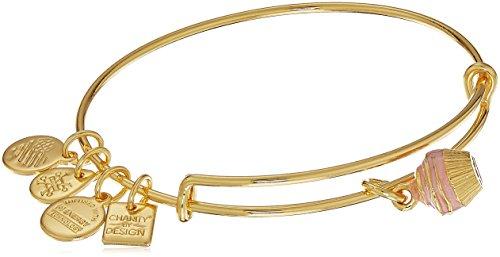 - Alex and Ani Charity By Design, Cupcake II EWB, Shiny Gold Bangle Bracelet
