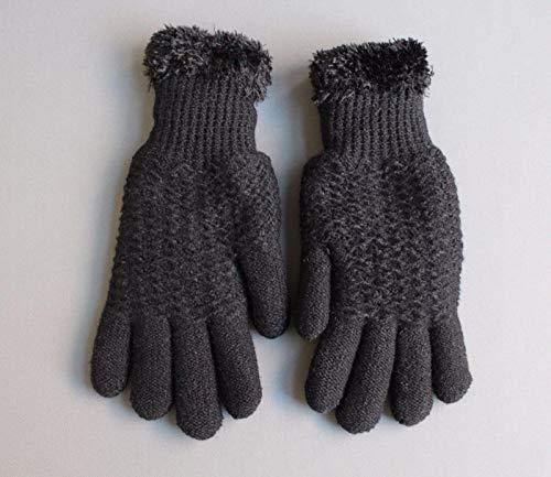 Black lined gloves faux fur knit stretch gloves winter super warm ladies by RIX Women's Luxury