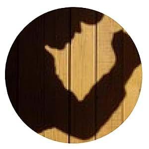 alfombrilla de ratón Silueta humana con el cuchillo en la sombra en el fondo de madera, XXXL - ronda - 20cm