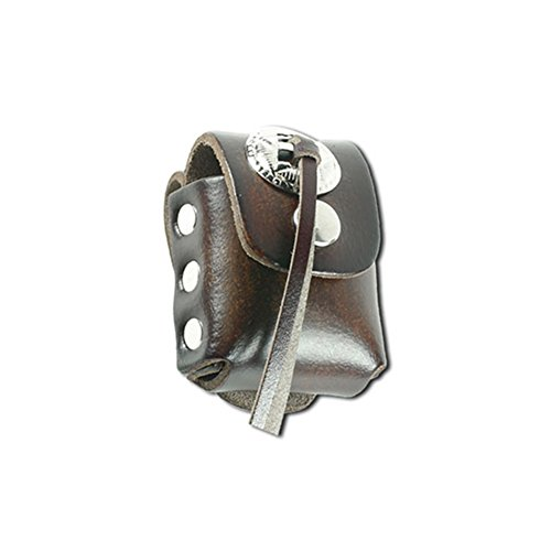 [Retro Brown Leather Lighter Case With Concho Accent] (Biker Concho)