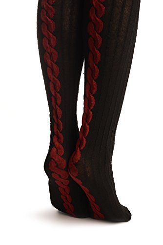 Black Cotton & Burgundy Back Plait With Elasticated Top - Hold Ups - Negro Medias autoadhesivas Talla unica (34-42)