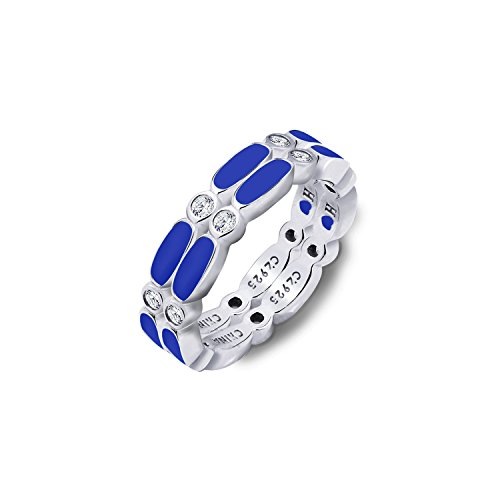 Diamonbliss Sterling Silver Cubic Zirconia 2-Piece Enamel Stack Ring Set-Blue. Size 10 ()