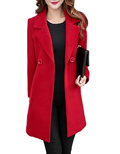 Jenkoon Women's Winter Outdoor Double Breasted Cotton Blend Pea Coat Jacket (Red, Large)
