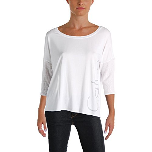 (Calvin Klein Performance Women's Hi Low Dolman 3/4 Sleeve Logo Tee, Sugar, M)