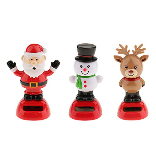 (Fityle 3Pcs Snowman Reindeer Santa Claus Car Dashboard Bobblehead Toy Home Office Desk Tabletop Xmas Decorative Ornament)