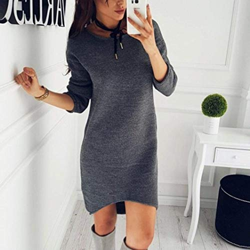 Automne Mini Chic Chaud Tricot Pulli BOLAWOO Robes Robe Pullover Mode Vtements Loisir Col Pull d'hiver Manches Fashion Rond Sweater Grau Femme Manche Bouffant Uni Elgante Hiver Longues 1aq67