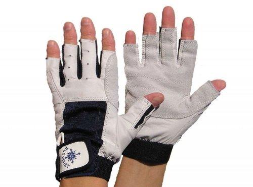 Blueport Segelhandschuhe aus Leder 5 Finger frei, Größe:L