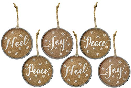 Noel Christmas Tree Ornament - Auldhome Mason Jar Lid Christmas Ornaments, Farmhouse Decor (Set of 6), Rustic Galvanized Hanging Decorations with Peace, Joy, and Noel