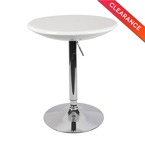 LCH Adjustable Pub Table Round White ABS Top Bistro Pub Table with Chromed Base - Modern Bar Table Kitchen Home Furniture, 23.6