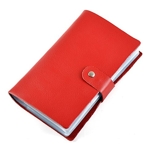 Boshiho Leather Credit Card Holder Business Card Case Book Style 90 Count Name ID Card Holder Book (Red)