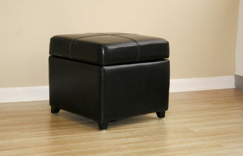 Black Full Leather Storage Cube Ottoman