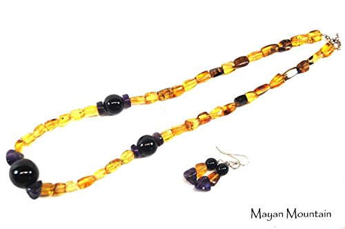 FINE MEXICAN AMBER & GUATEMALAN MINT JADEITE NECKLACE AND EARRING SET SILVER