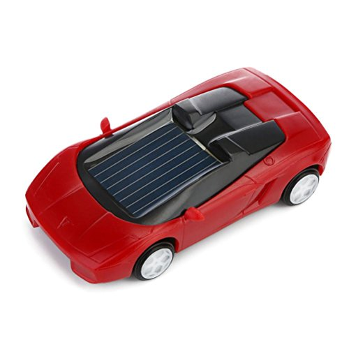 (Gbell Solar Powered Mini Racer Car Toy - Solar Energy Vehicle Educational Gadget Gift for Toddlers Kids Baby Boys Girls,7x3x2CM,Assorted Red Black White Yellow (Red))