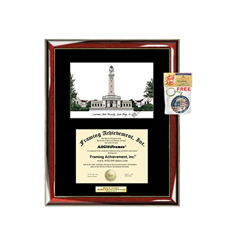 - AllGiftFrames Louisiana State University LSU Diploma Frame Lithograph Degree Graduation Framing Black Matted Engraved Custom University Graduate Gift Holder Case