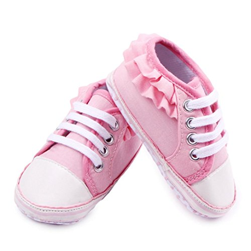Usstore 1 Pair Kid Infant Toddler Anti-slip New Born Baby Shoes Casual Shoes (3~6M, Pink) (Girls Born Kids Shoes)