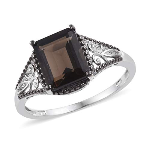 925 Sterling Silver Platinum Plated Octagon Smoky Quartz Solitaire Ring for Women Jewelry Size 7 Cttw 2.6