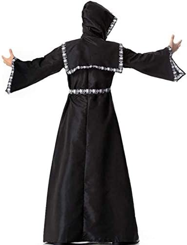 Mannen Kostuum Halloween Middeleeuwse Hooded Robe Cape Mantel Themafeest Cosplay Outfit Skelet Kant,One Size