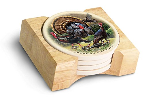 (American Expedition Turkey Collage Stone Coaster Set, Multicolor)
