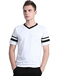 "<span class=""a-offscreen"">[Sponsored]</span>Allegra K Men Color Block V Neck Contrast Striped Panel Short Sleeves T-Shirt"